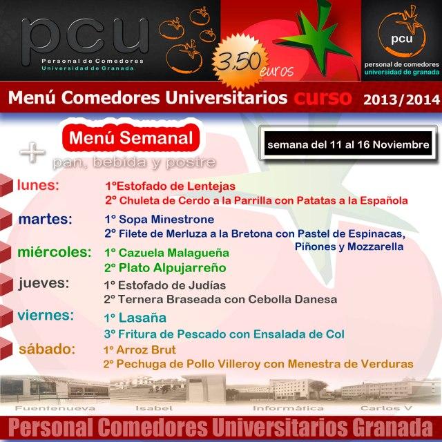 Men semanal en los comedores de la universidad de granada for Menu comedores ugr